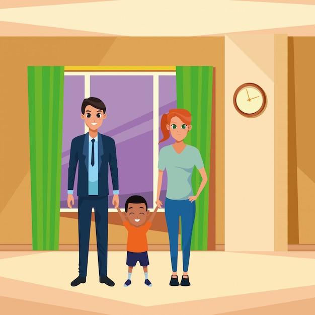 小さな子供を持つ家族の若い親 Premiumベクター