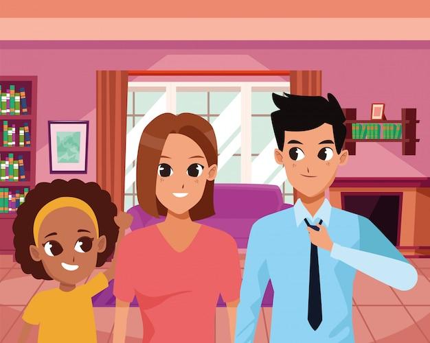 幸せな家族の家の漫画の中笑顔 Premiumベクター