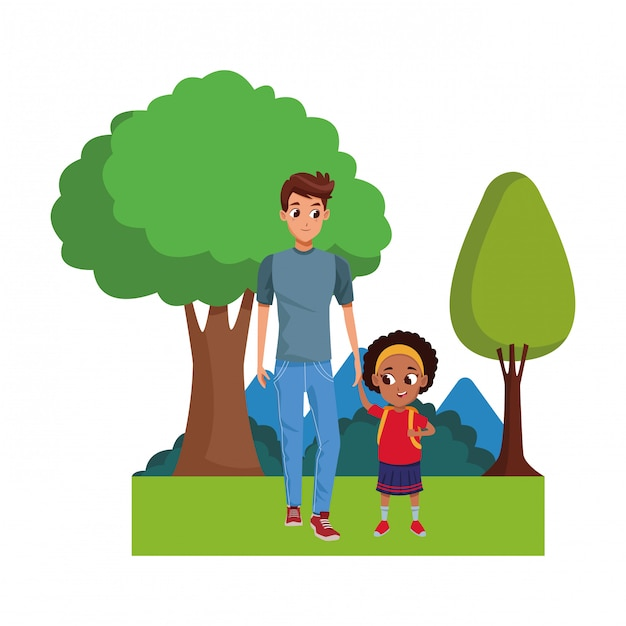 子供を持つ家族ひとり親漫画 Premiumベクター