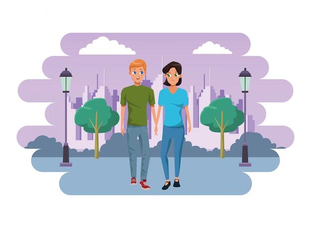 若いカップル笑顔とウォーキング漫画 Premiumベクター