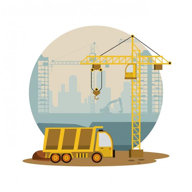 建設中の建物や機械 Premiumベクター