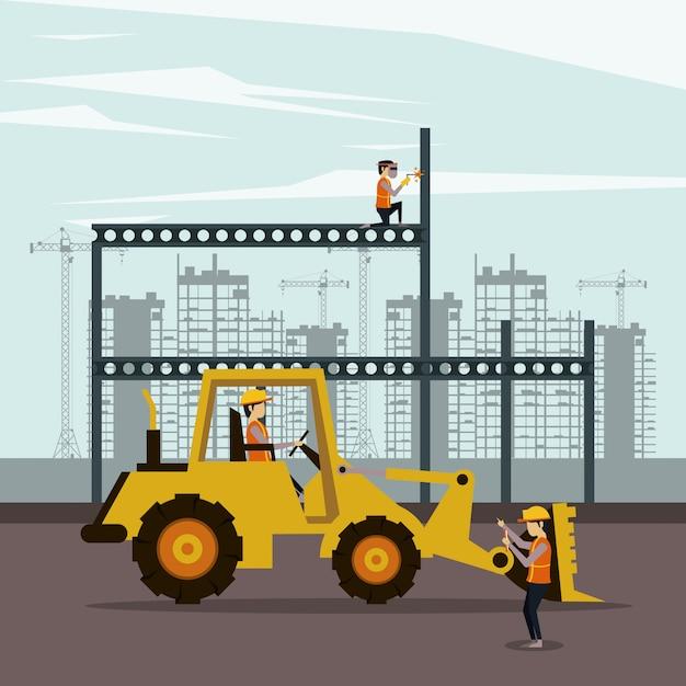 労働者がいる建設区域の下 Premiumベクター