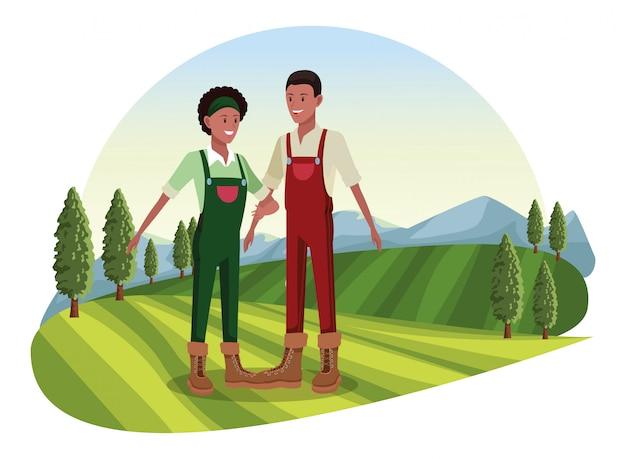 Ферма, животные и фермер мультфильм Premium векторы