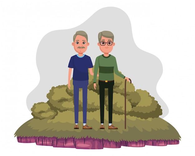 高齢者のアバターの漫画のキャラクター Premiumベクター