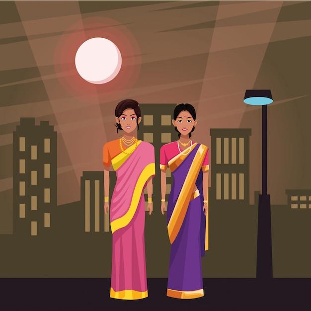 インドの女性のアバターの漫画のキャラクター Premiumベクター