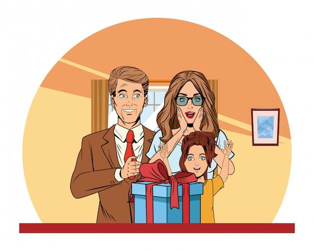 Семейный аватар с подарочной коробкой поп-арт Premium векторы