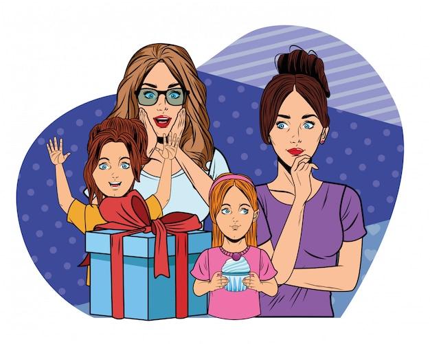 Женщины и девушки с подарочной коробкой поп-арт Premium векторы
