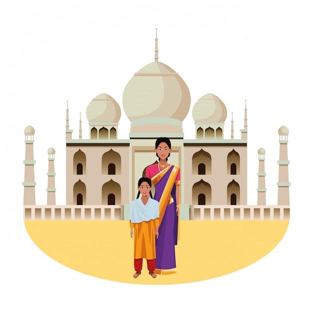 インドの家族のアバターの漫画のキャラクター Premiumベクター