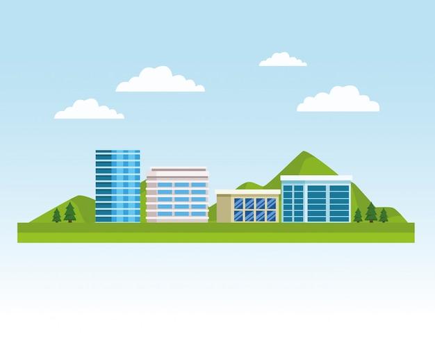 Городской пейзаж зданий и природы Premium векторы