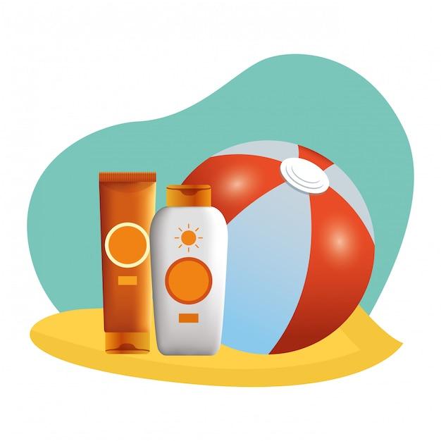 ビーチボールとサンブロンザーボトル Premiumベクター
