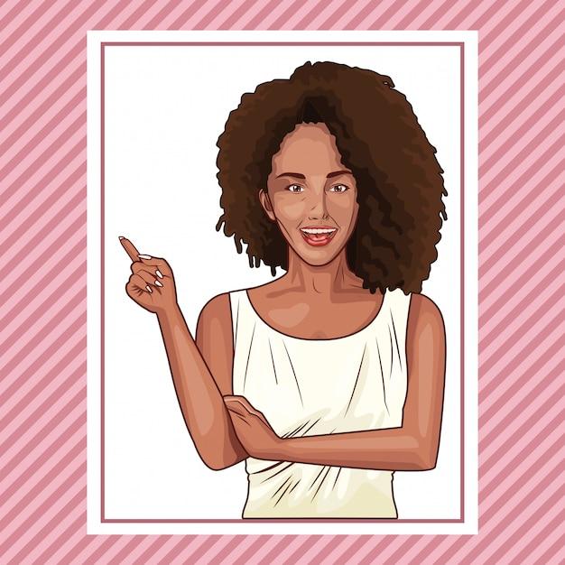 Поп-арт красивая женщина, улыбаясь мультфильм Premium векторы