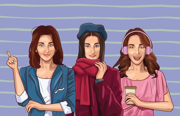 ポップアートのファッションと美しい女性の漫画 Premiumベクター