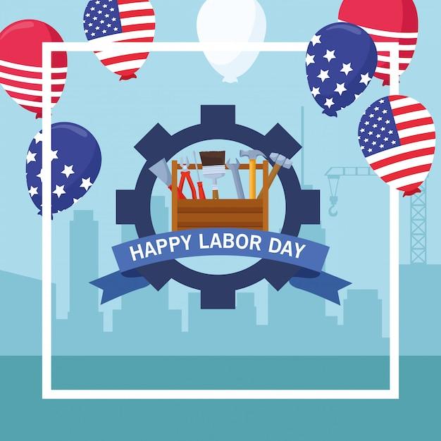 労働者の日アメリカのお祝い漫画 Premiumベクター