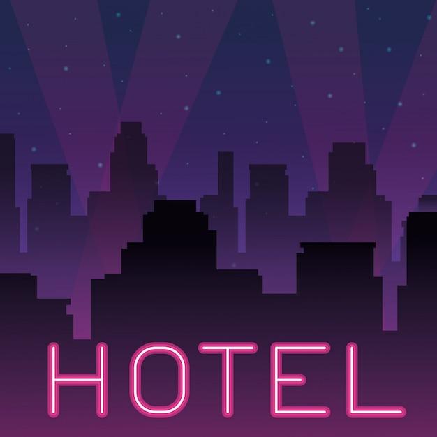 ホテルのネオン広告 Premiumベクター