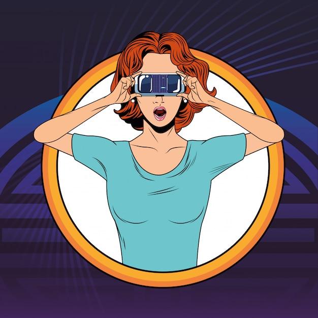 Женщина с гарнитурой виртуальной реальности Premium векторы