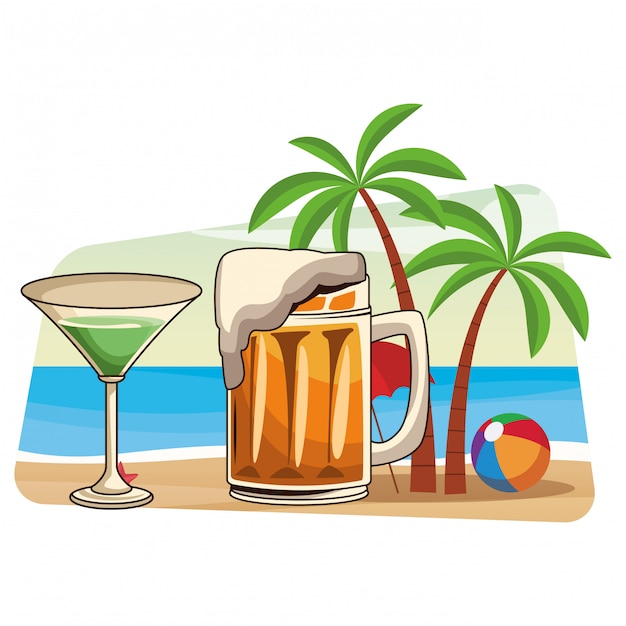 Алкогольные напитки напитки мультфильм Premium векторы
