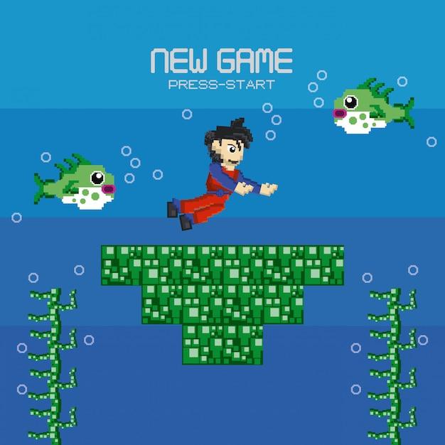 レトロなビデオゲームのピクセル化された風景 Premiumベクター
