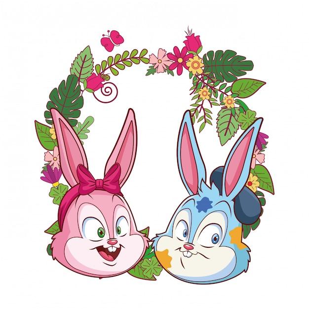 かわいいイースターバニー幸せな友人の肖像画花の花輪ラウンドフレーム Premiumベクター