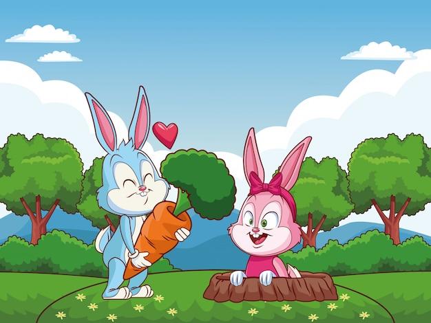 自然にかわいいイースターバニー幸せな友人ウサギ穴 Premiumベクター