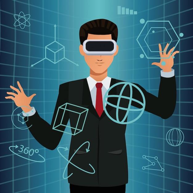 仮想現実眼鏡スマート技術を使用している男 Premiumベクター
