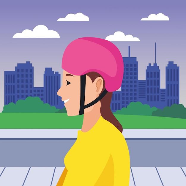 ヘルメット漫画頭を持つ若い女性 Premiumベクター