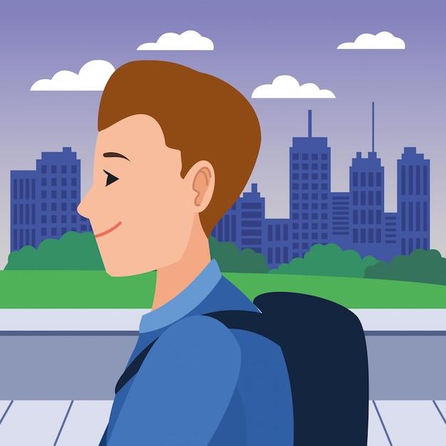 若い男の顔頭プロファイル漫画 Premiumベクター