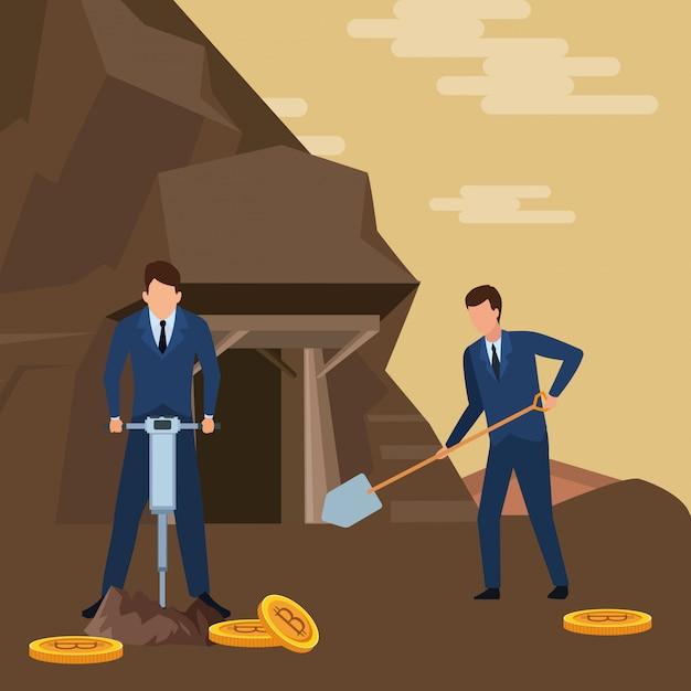 暗号通貨を探しているビジネスマン Premiumベクター