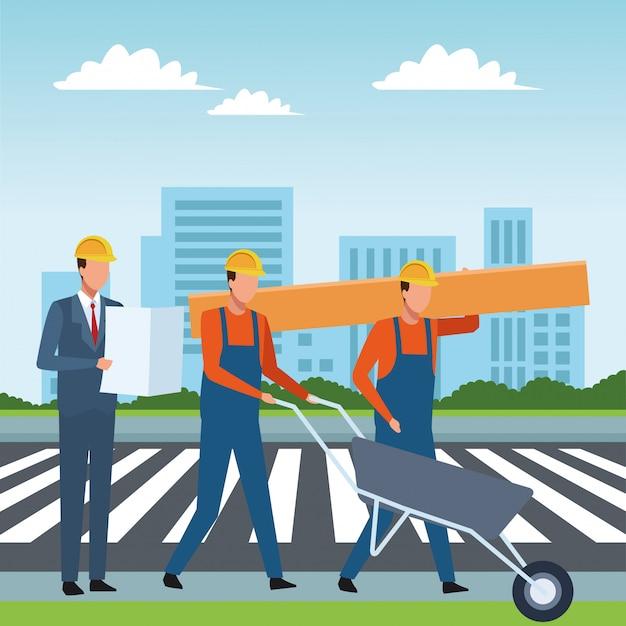 建設労働者の労働者ツール Premiumベクター