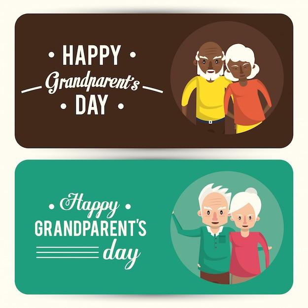 漫画と幸せな祖父母の日カードのセット Premiumベクター