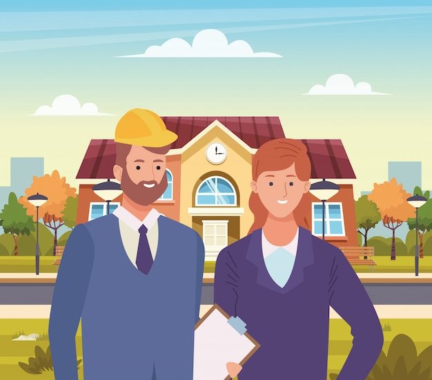 プロの労働者のカップルの笑顔の漫画 Premiumベクター