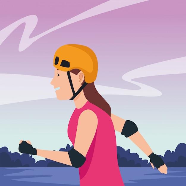 スケート漫画を持つ若い女性 Premiumベクター