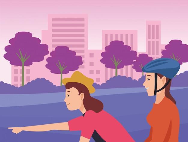 自転車とスクーターに乗って若い友人 Premiumベクター
