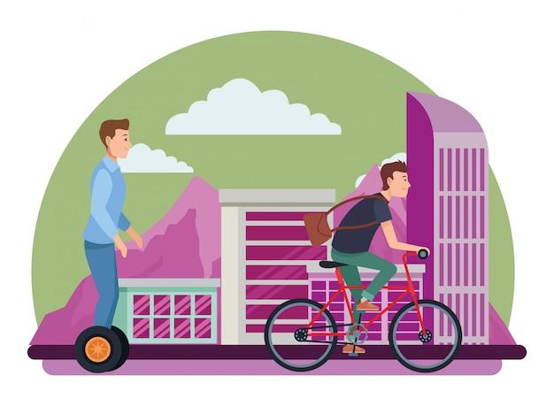自転車と電動スクーターに乗っている友人 Premiumベクター
