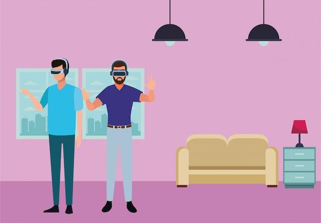 仮想現実の眼鏡で遊ぶ人々 Premiumベクター
