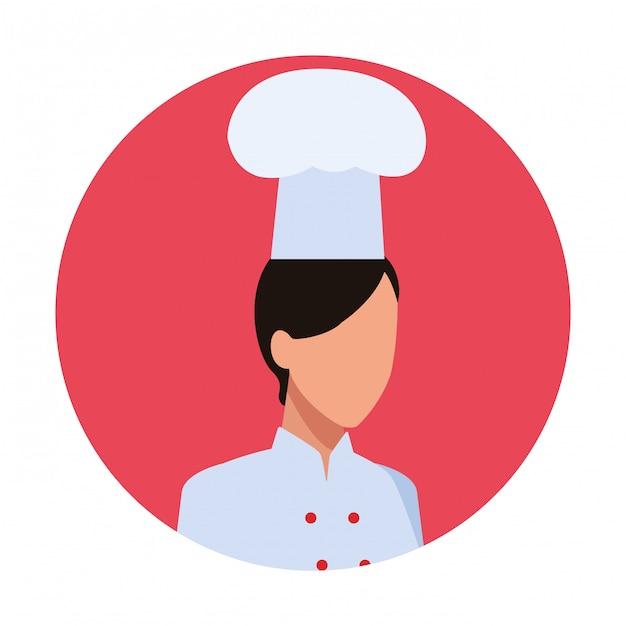 Шеф-повар женщина рабочий аватар Premium векторы