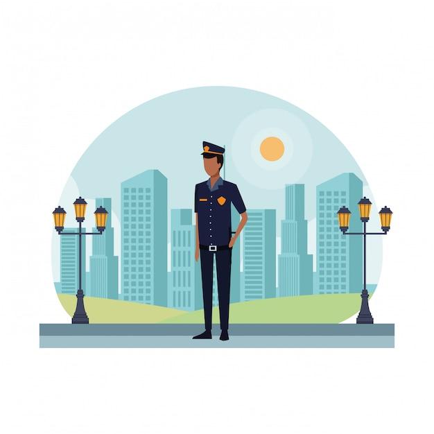 Полицейский работник аватар Premium векторы