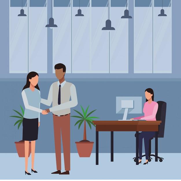 ビジネスの人々とオフィスの要素 Premiumベクター