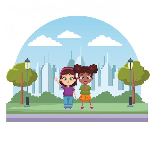 幸せな子供漫画 Premiumベクター