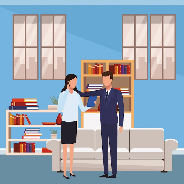 ビジネスマンとオフィス Premiumベクター