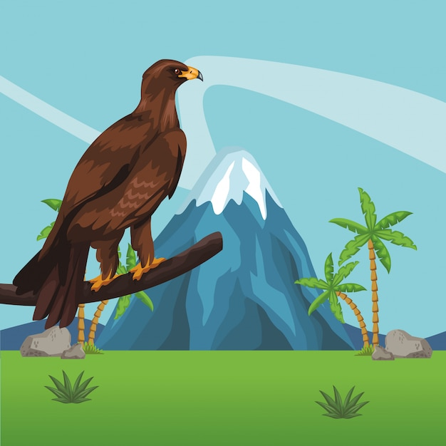 Мультфильм дикий орел Premium векторы