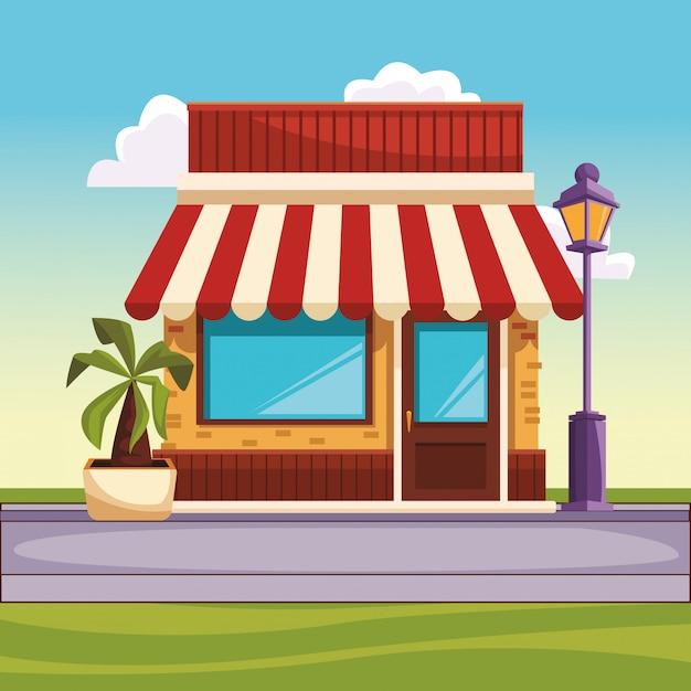 Ресторан уличный пейзаж Premium векторы