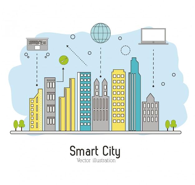 Умный город. значок социальных медиа. концепция технологии Premium векторы