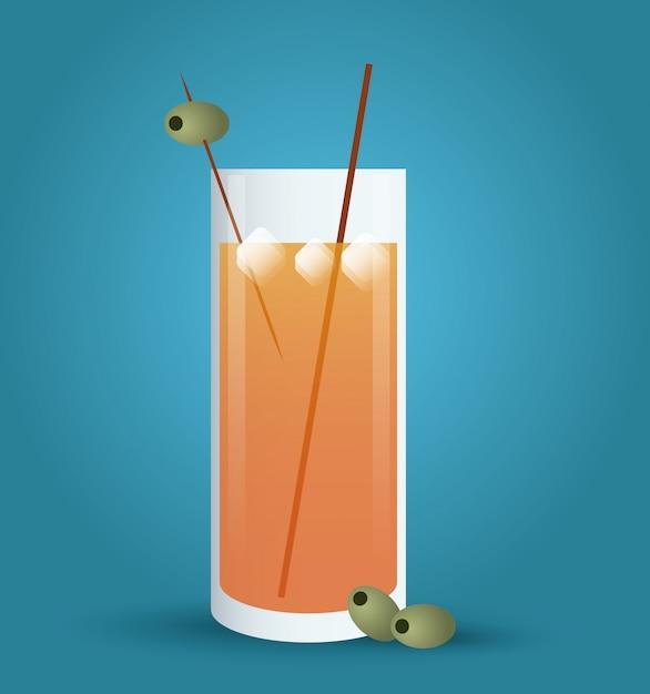 Коктейль напиток значок в плоский, алкогольный напиток. иллюстрация Premium векторы
