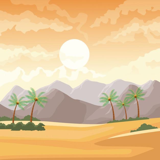 ヤシの木と山の砂漠の風景 Premiumベクター