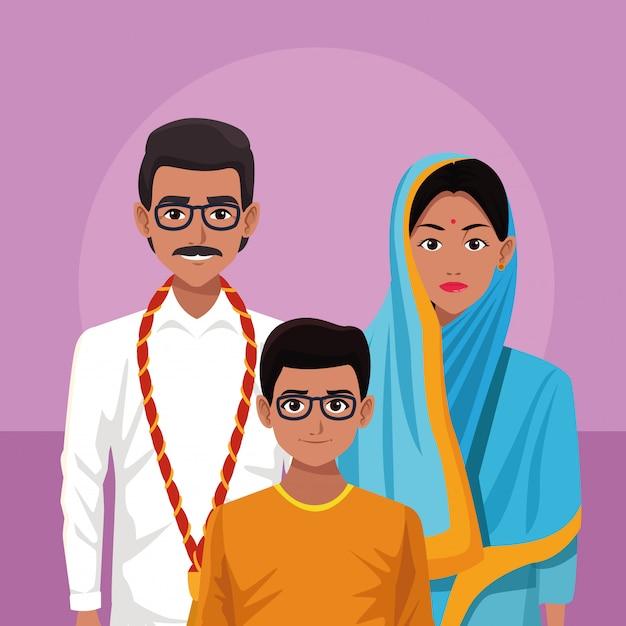 インドの家族インド漫画 Premiumベクター