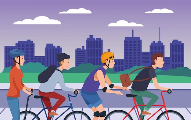 Люди, катающиеся на велосипедах, скутерах и коньках Premium векторы