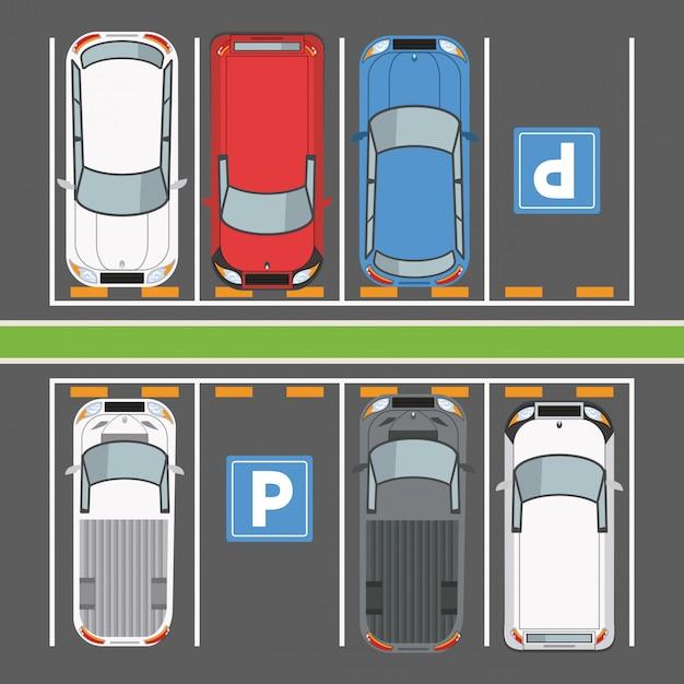 Вид сверху на парковочную зону Premium векторы