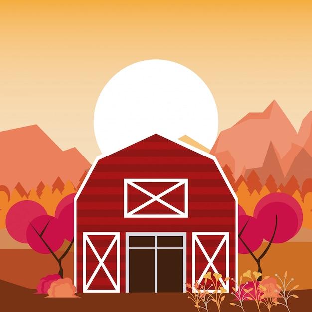 秋の自然の風景漫画 Premiumベクター