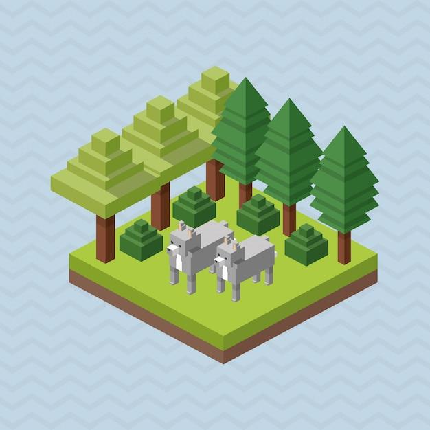 動物デザイン。等尺性。自然の概念 Premiumベクター