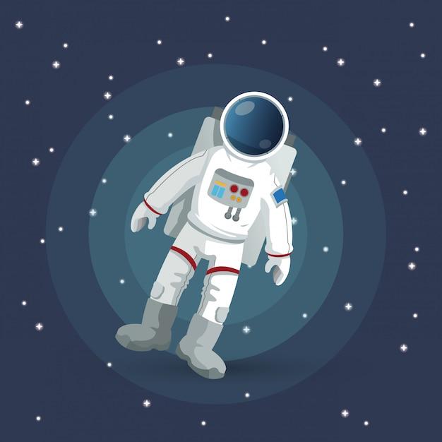 宇宙飛行士のサイン。スペースの概念。宇宙 Premiumベクター